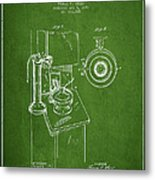 Telephone Patent Drawing From 1898 - Green Metal Print