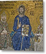 The Empress Zoe Mosaics On The Eastern Wall Of The Southern Gallery In Hagia Sophia  Metal Print by Ayhan Altun