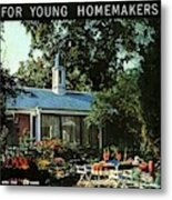 The Exterior Of A House And Patio Furniture Metal Print by Nowell Ward