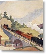 The First Paris To Rouen Railway, Copy Metal Print by French School