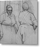 The Help - Housekeepers Of Soniat House Sketch Metal Print by Jani Freimann