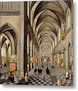 The Interior Of A Gothic Church Metal Print by Hendrik the Younger Steenwyck