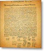 The United States Declaration Of Independence - Square Metal Print