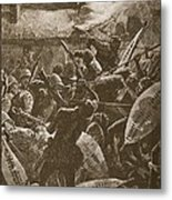 There Was A Hand-to-hand Struggle Metal Print by William Barnes Wollen