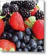 Three Fruit Closeup - Strawberries - Blueberries - Blackberries Metal Print by Barbara Griffin
