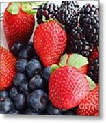 Three Fruit - Strawberries - Blueberries - Blackberries Metal Print by Barbara Griffin