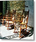 Three Wooden Rocking Chairs On Sunny Porch Metal Print