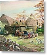Threshing In Kent Metal Print by Dudley Pout