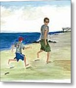 Tracing Your Footsteps In The Sand Metal Print