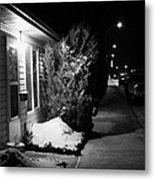 Traditional House With Porch Light Outside The Door And Snow Cleared Pavements At Night Delisle Sask Metal Print by Joe Fox