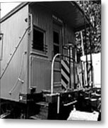 Train - The Caboose - Black And White Metal Print by Paul Ward