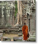 Tranquility In Angkor Wat Cambodia Metal Print by Bob Christopher