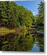Trees Reflected On Mirrored Lake  Metal Print by Amy Cicconi
