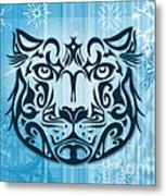 Tribal Tattoo Design Illustration Poster Of Snow Leopard Metal Print by Sassan Filsoof