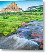 Triple Falls Stream Glacier National Park Metal Print