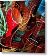 Triple Header Digital Banjo And Guitar Art By Steven Langston Metal Print by Steven Lebron Langston