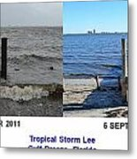 Tropical Storm Lee Difference A Day Makes Metal Print by Jeff at JSJ Photography
