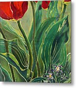 Tulips And Pushkinia Metal Print by Anna Lisa Yoder