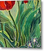 Tulips And Pushkinia Detail Metal Print by Anna Lisa Yoder