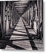 Tulsa Pedestrian Bridge In Black And White Metal Print by Tamyra Ayles