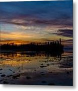 Twilight Silhouette At Candle Lake Metal Print by Gerald Murray Photography