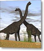Two Large Brachiosaurus In Prehistoric Metal Print by Kostyantyn Ivanyshen