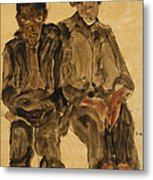 Two Seated Boys Metal Print by Egon Schiele