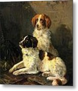 Two Spaniels Waiting For The Hunt Metal Print by Henriette Ronner Knip
