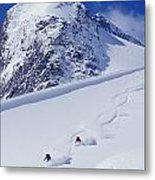 Two Young Men Skiing Untracked Powder Metal Print by Henry Georgi Photography Inc