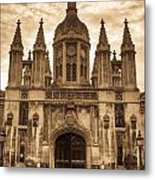 University Entrance Door Sepia Metal Print by Douglas Barnett