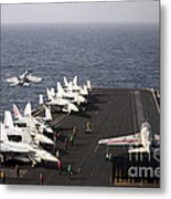 Uss Enterprise Conducts Flight Metal Print by Stocktrek Images