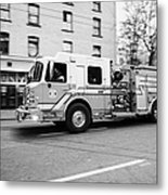 Vancouver Fire Rescue Services Truck Engine 2 Speeding Through Downtown City Streets Bc Canada Delib Metal Print by Joe Fox