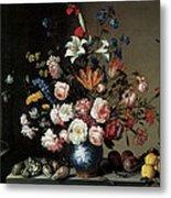 Vase Of Flowers By A Window Metal Print