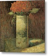 Vase Of Flowers Metal Print by Georges Seurat