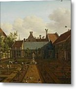 View Of A Town House Garden In The Hague Metal Print