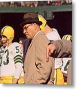 Vince Lombardi In Trench Coat Metal Print