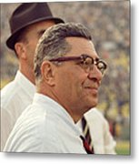 Vince Lombardi Surveying The Field Metal Print by Retro Images Archive