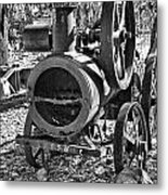 Vintage Steam Tractor Black And White Metal Print by Douglas Barnard