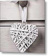 Vintage Wicker Heart Metal Print by Jane Rix