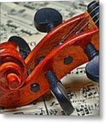 Violin Scroll Up Close Metal Print