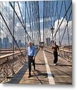 Walkers And Joggers On The Brooklyn Bridge Metal Print by Amy Cicconi
