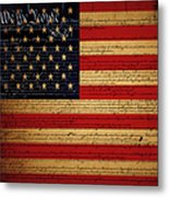 We The People - The Us Constitution With Flag - Square V2 Metal Print