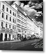White Buildings In Prague Metal Print by John Rizzuto