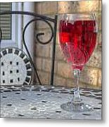 Wine Glass On Table Al Fresco Metal Print by Fizzy Image