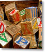 Wooden Blocks With Alphabet Letters Metal Print by Amy Cicconi