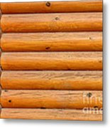 Wooden Logs Wall Background Metal Print
