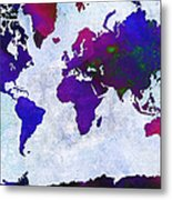 World Map - Purple Flip The Light Of Day - Abstract - Digital Painting 2 Metal Print