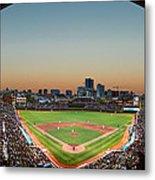 Wrigley Field Night Game Chicago Metal Print