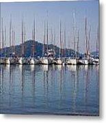 Yachts Docked In The Harbor Gocek Metal Print by Christine Giles
