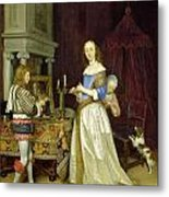 A Lady At Her Toilet Metal Print by Gerard ter Borch